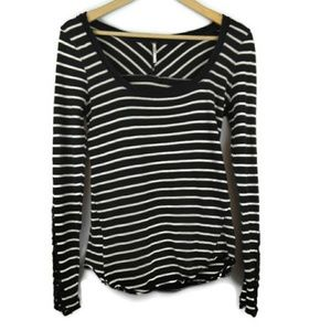 FREE PEOPLE Striped Black Lace Cuff Top Small